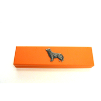 Golden Retriever Motif on Apricot Wooden Pen Box with 2 Pens
