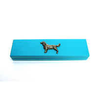 Springer Spaniel Motif on Turquoise Wooden Pen Box with 2 Pens