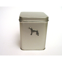 Greyhound Design Motif Tin Tea Caddy Mother Xmas Gift