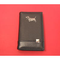 Basset Hound on Faux Carbon Fibre Black Note book & Pen