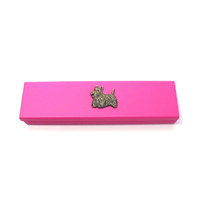 Scottish Terrier Motif on Pink Wooden Pen Box with 2 Pens