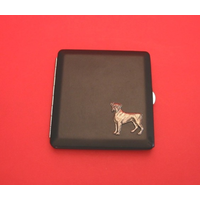 Boxer Dog Motif on Black Faux Leather Cigarette Case