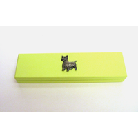 West Highland Terrier Motif on Lime Wooden Pen Box with 2 Pens