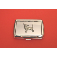 Chihauhau Dog Motif on Polished Stainless Steel Tobacco Tin