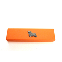 Cocker Spaniel Motif on Apricot Wooden Pen Box with 2 Pens