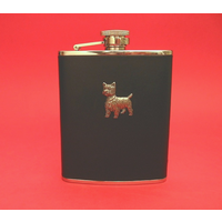 West Highland Terrier 6oz Black Leather Hip Flask Dog GIft