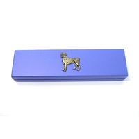 Boxer Dog Motif on Violet Blue Wooden Pen Box with 2 Pens
