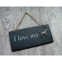 Patterdale Terrier Design Slate Plaque Valentine Christmas Gift