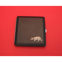 Border Collie Motif on Black Faux Leather Cigarette Case