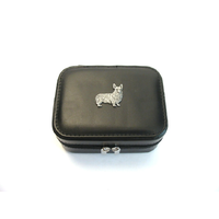 Corgi Dog Design Small Black Travel Jewellery Box