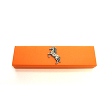 Rearing Horse Motif on Apricot Wooden Pen Box with 2 Pens