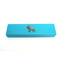 Schnauzer Motif on Turquoise Wooden Pen Box with 2 Pens