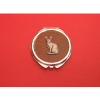 Short Haired Cat on Brown Round Compact Mirror Useful Gift