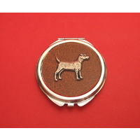 Patterdale Terrier on Brown Round Compact Mirror Useful Gift