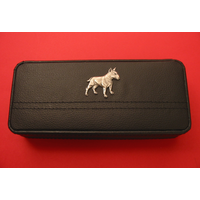 English Bull Terrier Motif on Black Faux Leather Pen Box With 2