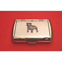 Staffordshire Bull Terrier on Polish Stainless Steel Tobacco Tin