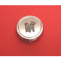 Cockapoo Pewter Motif On Round Chrome Mint / Pill Box