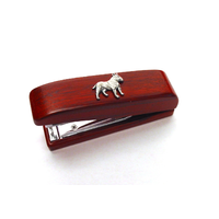 English Bull Terrier Motif on Rosewood Stapler Stationary Gift