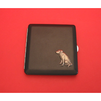 Labrador Retriever Motif on Black Faux Leather Cigarette Case