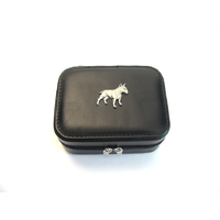 English Bull Terrier Design Small Black Travel Jewellery Box