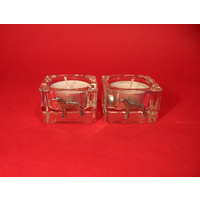 Greyhound Motif On Square Glass Tea Light Holders Xmas Gift