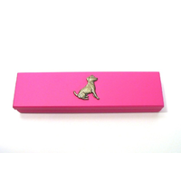 Jack Russell Motif on Pink Wooden Pen Box with 2 Pens