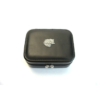 Long Haired Cat Design Small Black Travel Jewellery Box