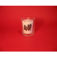 Papillon Motif On Glass Votive Candle Holder Xmas Gift