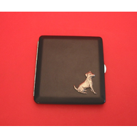 Jack Russell Motif on Black Faux Leather Cigarette Case