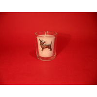 Chihuahua Motif On Glass Votive Candle Holder Xmas Gift