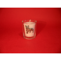 French Bulldog Motif On Glass Votive Candle Holder Xmas Gift