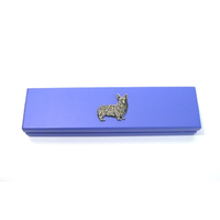 Corgi Dog Motif on Violet Blue Wooden Pen Box with 2 Pens