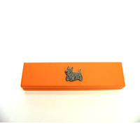 Scottish Terrier Motif on Apricot Wooden Pen Box with 2 Pens
