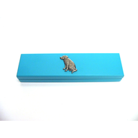 Labrador Retriever Motif on Turquoise Wooden Pen Box with 2 Pens