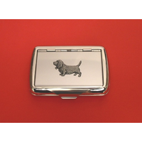 Basset Hound Motif on Polished Stainless Steel Tobacco Tin