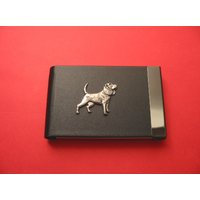Beagle Pewter Motif on Black Card Holder Dog Gift