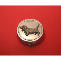 Basset Hound Pewter Motif On Round Chrome Mint / Pill Box