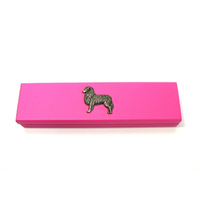 Australian Shepherd Motif on Pink Wooden Pen Box with 2 Pens