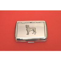 Boxer Dog Motif on Polished Stainless Steel Tobacco Tin