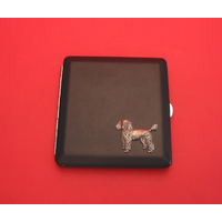 Poodle Motif on Black Faux Leather Cigarette Case