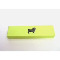 Pug Dog Motif on Lime Wooden Pen Box with 2 Pens