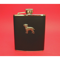 Border Terrier 6oz Black Leather Hip Flask Dog GIft