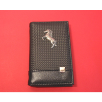 Rearing Pony/Horse on Faux Carbon Fibre Black Note book & Pen