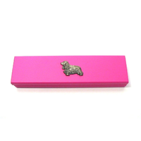 Cocker Spaniel Motif on Pink Wooden Pen Box with 2 Pens