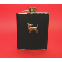 Chihuahua Dog 6oz Black Leather Hip Flask Dog GIft