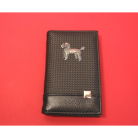 Poodle on Faux Carbon Fibre Black Note book & Pen