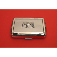Grazing Pony on Polished Stainless Steel Tobacco Tin