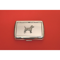 Patterdale Terrier Motif on Polished Stainless Steel Tobacco Tin