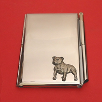 Staffordshire Bull Terrier Chrome Notebook & Pen