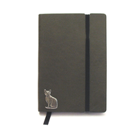 Short Haired Cat A6 Olive Green Journal Notebook Cat Gift